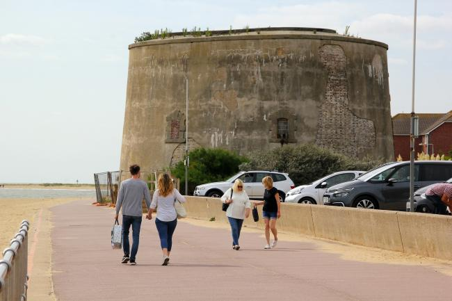Crumbling - the Martello Tower at Clacton's Martello Bay. Picture: Paul Nixon