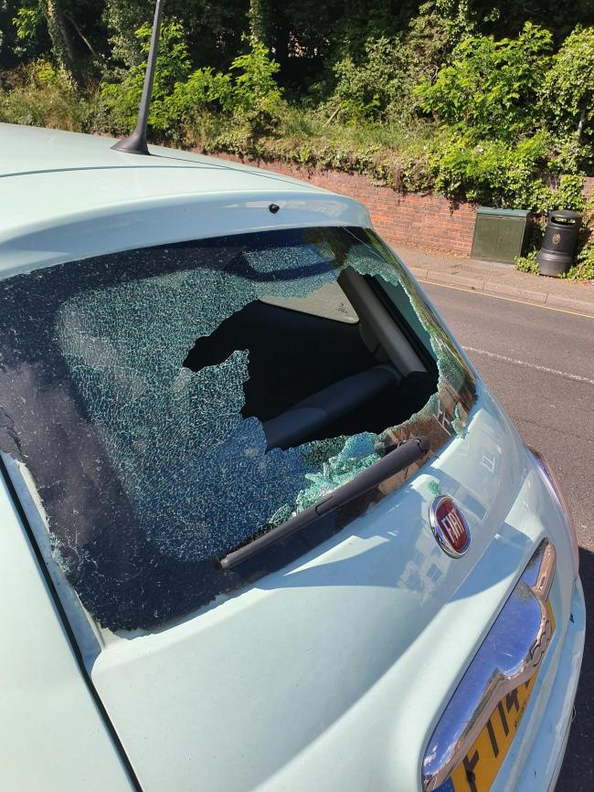 Smashed - Miska Hubinova's Fiat 500 was damaged in Brook Street, Colchester
