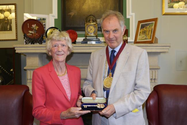 Sarah Bowler MBE and Colchester Mayor Nick Cope. Picture: Dean Weston