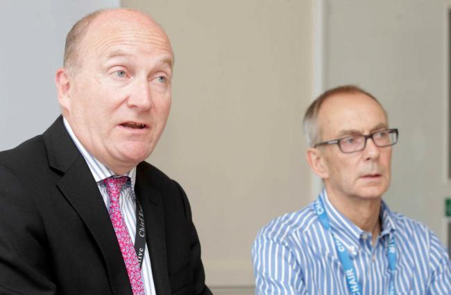 Board meeting - the first after Ipswich Hospital Trust joined with Colchester,Chief Executive, Nick Hulme,left, with  Chairman,David White, Postgraduate Medical Centre, Colchester General Hospital..