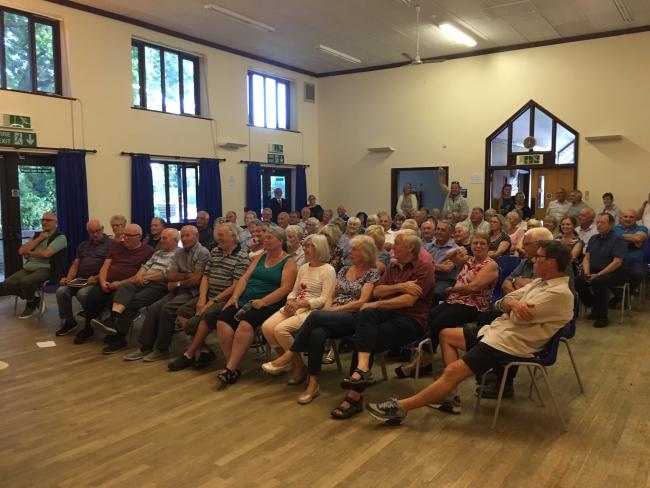 Residents meeting together about the proposal to build chalets, a pub and mini market in Low Road, Dovercourt