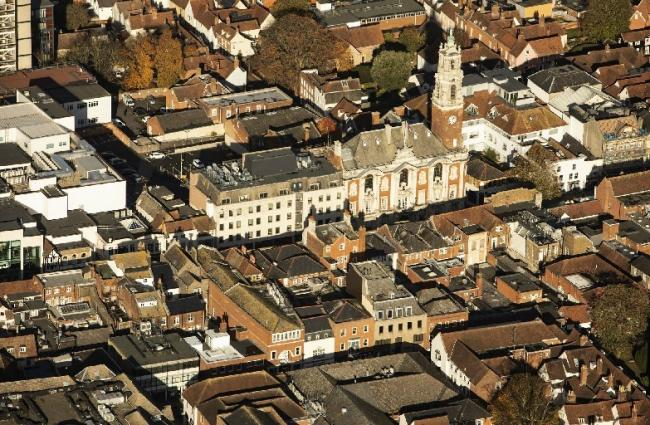 Colchester Town Hall aerial view