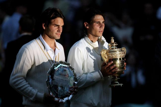 Rafael Nadal, right, and Roger Federer with their trophies after their thrilling 2008 Wimbledon final