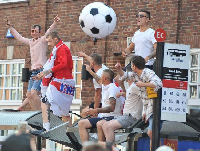 Over zealous - football supporters headed to Head Street after England fixtures