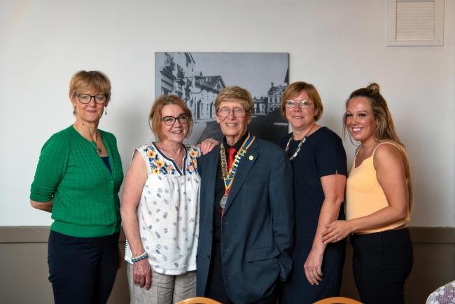VITAL FUNDS: Charity representatives Caroline Bates, Veronica Harman, Yvette Wetton and Kelly Bleasdale with President David Hume (centre)