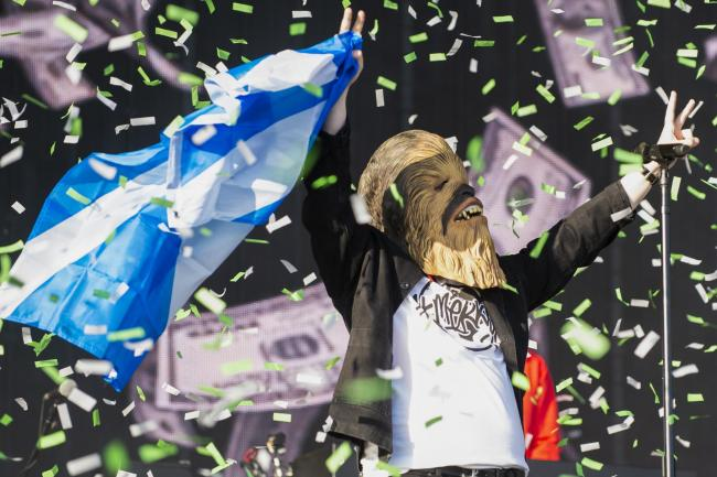 Lewis Capaldi wearing the Chewbacca mask at TRNSMT festival