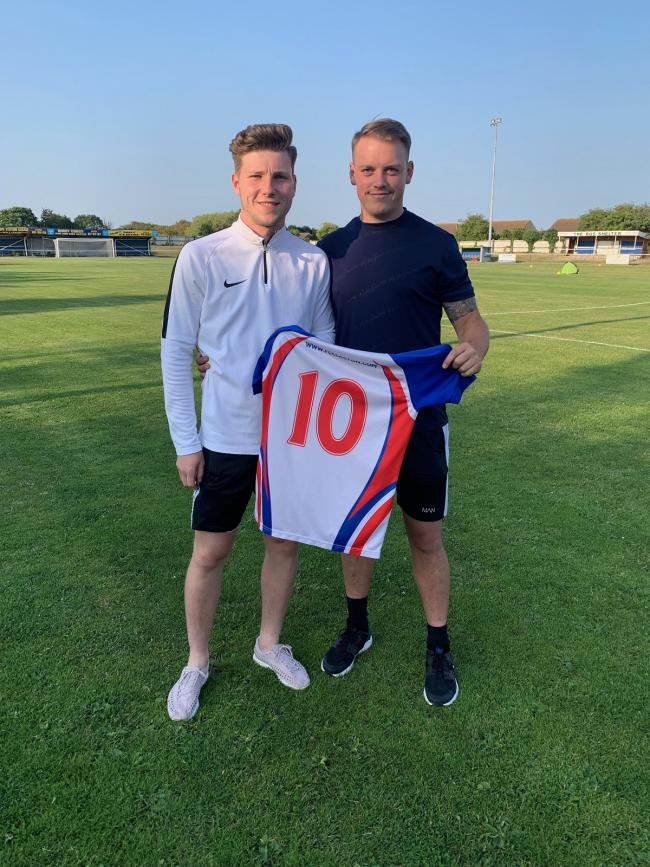 Contract: Seasiders midfielder Harry McDonald and manager Tom Austin.