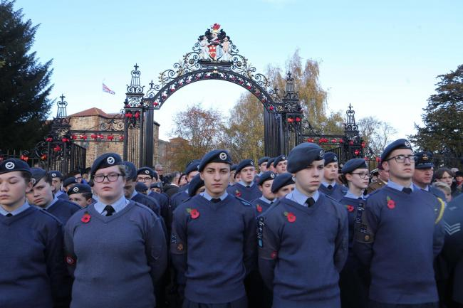 Respect - cadets stand shoulder to shoulder during last year's Remembrance Day event wearing their poppies