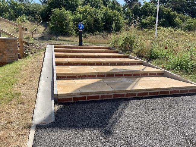 Mess - the cycle path with stairs in the middle near Martin Hunt Drive (photo by Colchester Cycling Campaign)