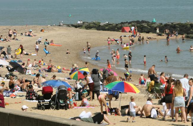 Busy - families enjoying the beach at Clacton