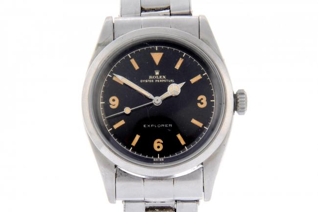 The stainless steel Oyster Perpetual Explorer bracelet watch had an estimate of £4,800 - £5,800 (Fellows/PA)