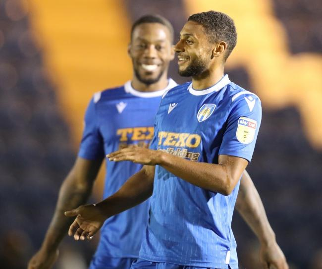 All smiles - Brandon Comley celebrates after scoring for Colchester United against Swindon Town Picture: STEVE BRADING