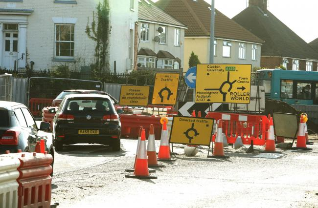 Road works in Harwich Road, Ipswich Road, Colchester..Harwich Road roudabout.