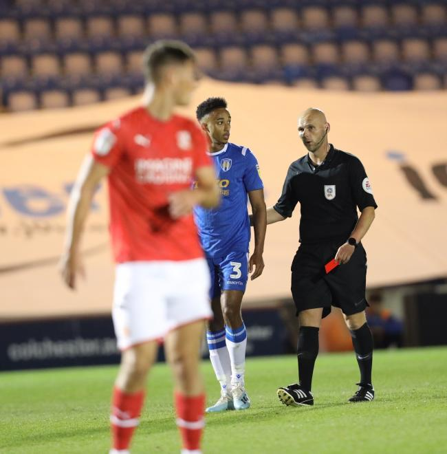 Dismissed - Cohen Bramall is shown the red card by referee Charles Breakspear during the U's 3-0 win over Swindon Town Picture: STEVE BRADING