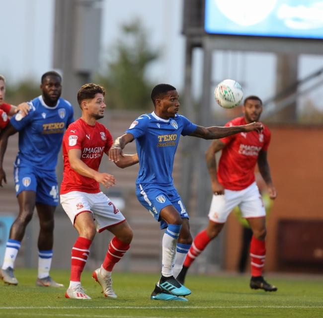 Impressive start - Jevani Brown, pictured during Tuesday's cup victory against Swindon Town, will be up against his former club tomorrow when Cambridge United visit the JobServe Community Stadium Picture: STEVE BRADING