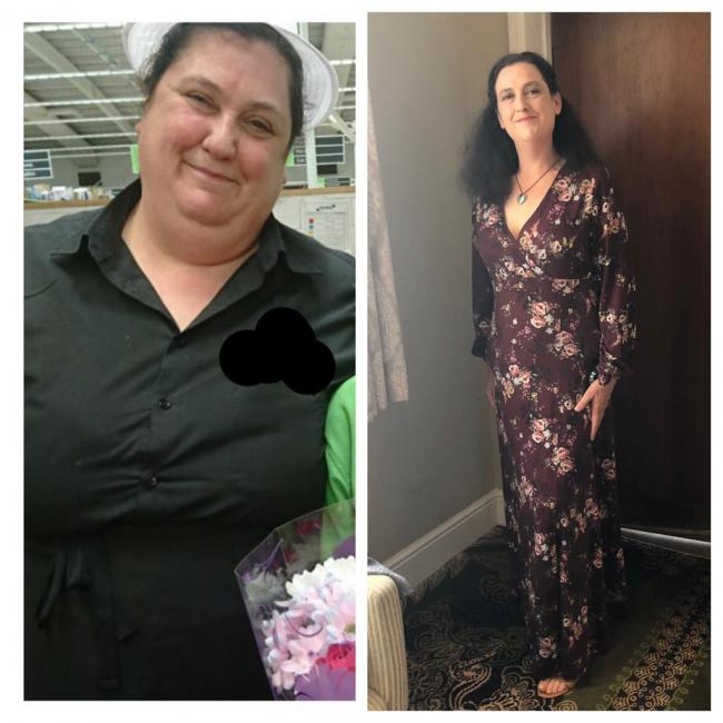 Transformation - Tracy Arnold before and after halving her body weight