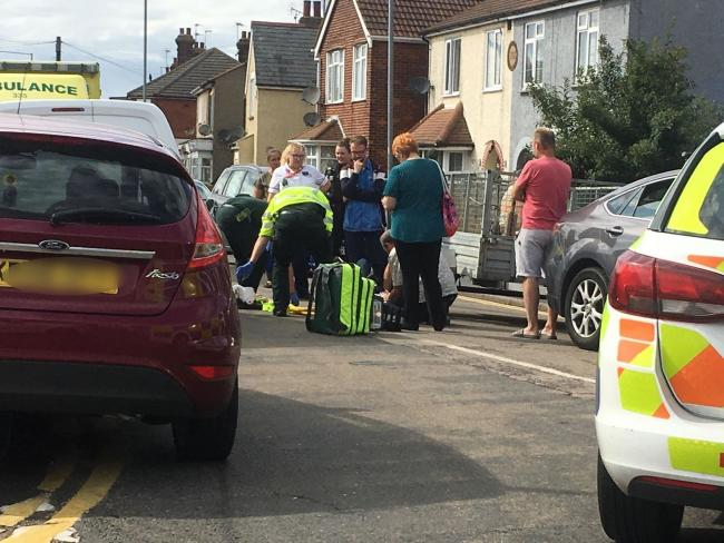 Scene - a cyclist was treated by paramedics following  a crash in St Osyth Road, Clacton