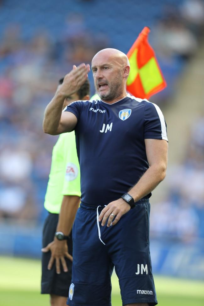 Off the mark - John McGreal led Colchester United to a first league win of the season against Northampton Town Picture: STEVE BRADING