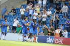 Colchester United celebrate Luke Norris's goal against Northampton Town Picture: STEVE BRADING