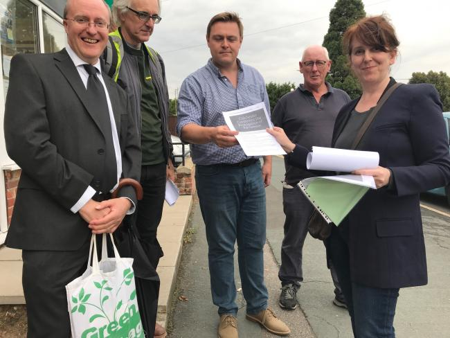 Mark Goacher, Robbie Spence, Cyril Liddy and Deborah Talbot deliver the petition to MP Will Quince