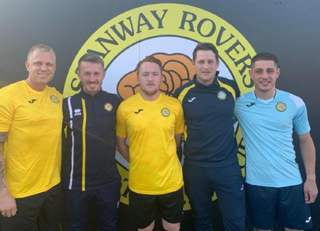 New era - Stanway boss Danny Slatter (second from the left) with Craig Hughes, club captain Tyler Kemp, Adam Munn and summer signing Tom Holdstock.