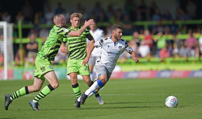 On the ball - Luke Gambin looks to try and make progress for Colchester United in their 1-0 loss at Forest Green Rovers Picture: Dean Lancaster/PPAUK