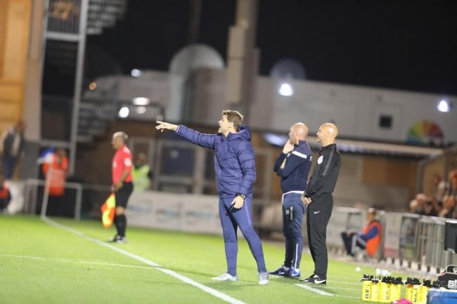 Pointing the way - Spurs boss Mauricio Pochettino gives out instructions during his side's Carabao Cup defeat at Colchester United Picture: STEVE BRADING