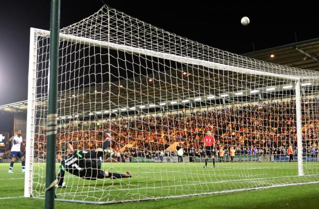Net gain - Lucas Moura's penalty for Spurs strikes the woodwork during the penalty shoot-out where Colchester United prevailed Picture: STEVE BRADING