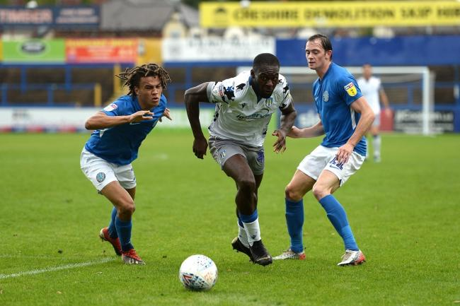 Moving through - Colchester United's Frank Nouble looks to make progress at Macclesfield Town Picture: RICHARD BLAXALL
