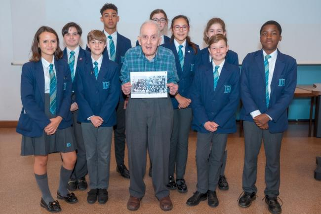 Frank Bright with pupils at St Helena School