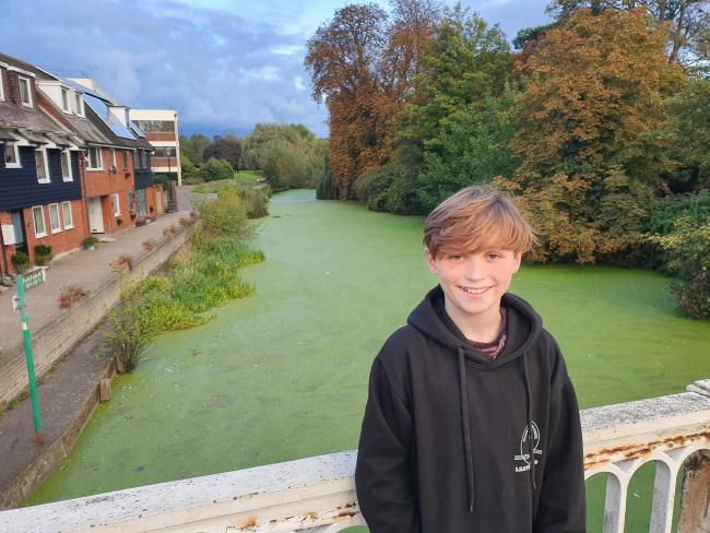 Noah with the River Colne in the background