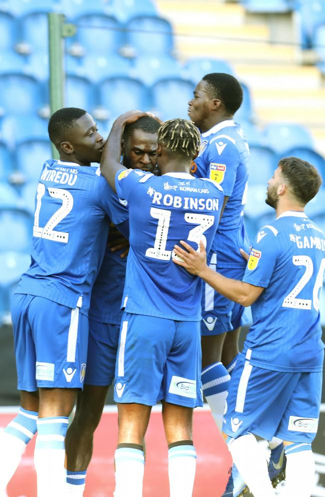 Good vibes - Frank Nouble celebrates with his Colchester United team-mates after scoring a penalty in their 3-1 win over Stevenage Picture: STEVE BRADING