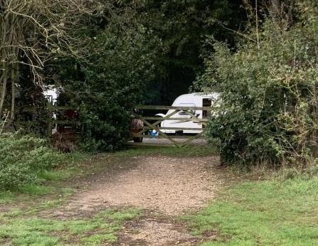 Caravans in the Chanterelle car park