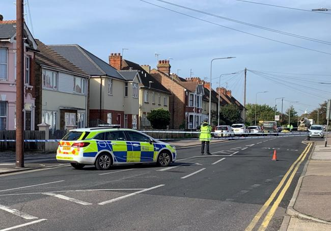 Scene - London Road was closed after a fatal collision between a cyclist and a cement truck