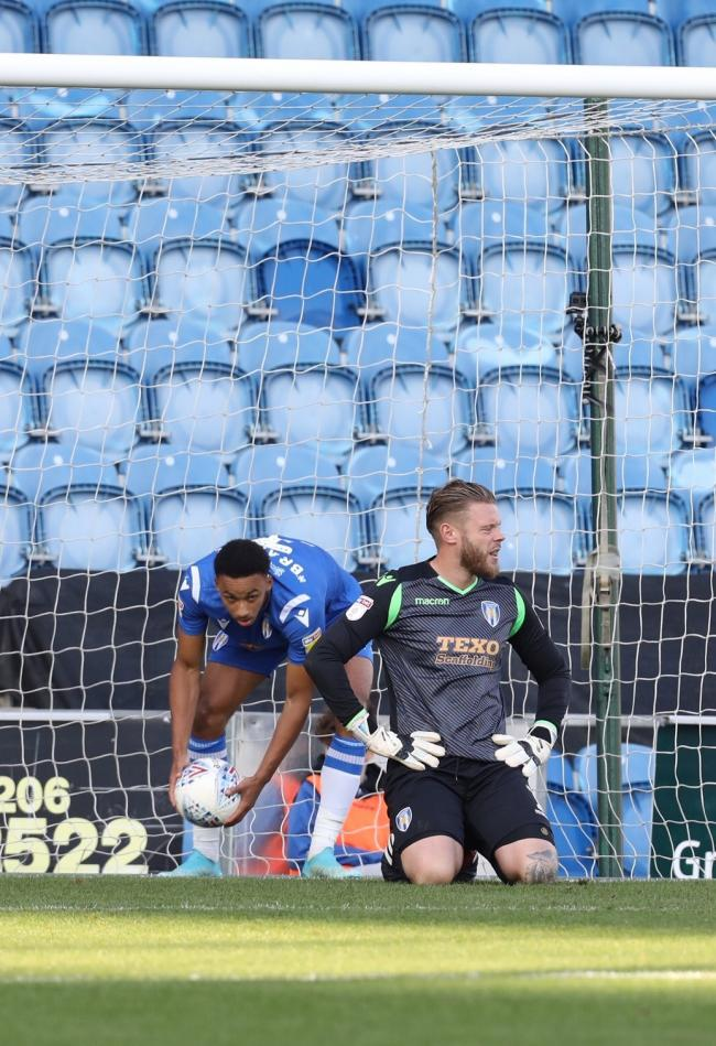 Anguish - Colchester United goalkeeper Dean Gerken shows his disappointment after Morecambe's winner Picture: STEVE BRADING