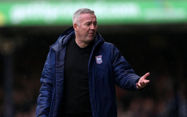 Ipswich Town manager Paul Lambert gestures on the touchline during the Sky Bet League One match at Roots Hall, Southend. PA Photo. Picture date: Saturday October 26, 2019. See PA story SOCCER Southend. Photo credit should read: Steven Paston/PA Wire. RES