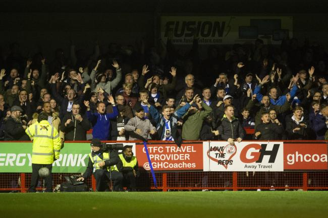 Great support - Colchester United fans at Crawley Town Picture: RICHARD BLAXALL