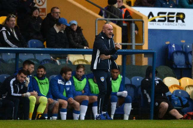 Making tracks - Colchester United head coach John McGreal gives out instructions at Mansfield Town Picture: RICHARD BLAXALL