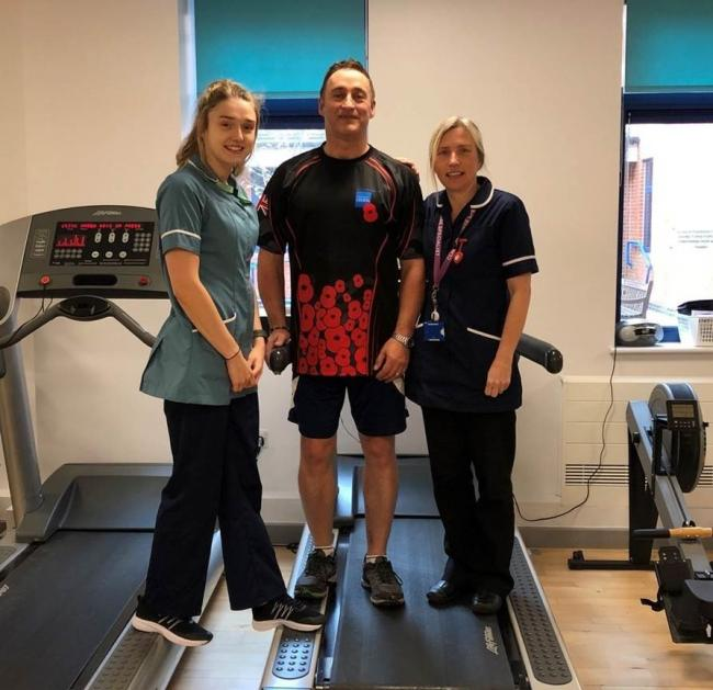 Support - Jason at Colchester Hospital undergoing cardiac rehabilitation with Jude Payne, cardiac rehab nurse (right) and Danni Rulton, physiotherapy assistant