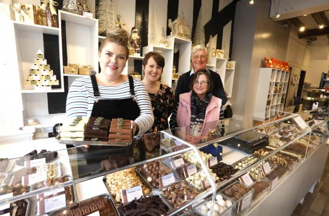 Treats - Ellie Bell, Nadine Humphreys, and Madeleine and Alan Edwards at chocolate shop Minerva