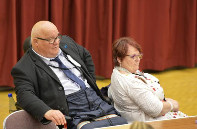 Colchester election count, Charter Hall..Gerard and Beverley Oxford.