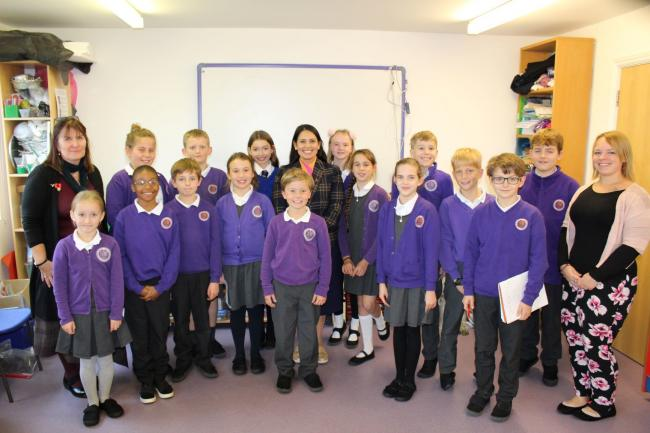 SCHOOL VISIT: Priti Patel with students from Soaring High Montessori Primary School in Coggeshall