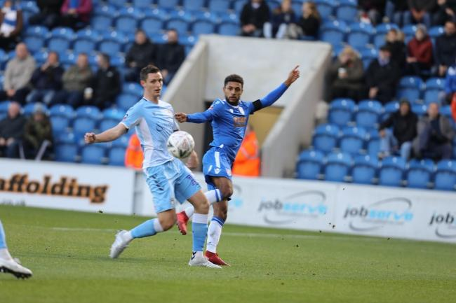 Brandon Comley gets on the ball in Saturday's FA Cup tie against Coventry City Picture: Steve Brading