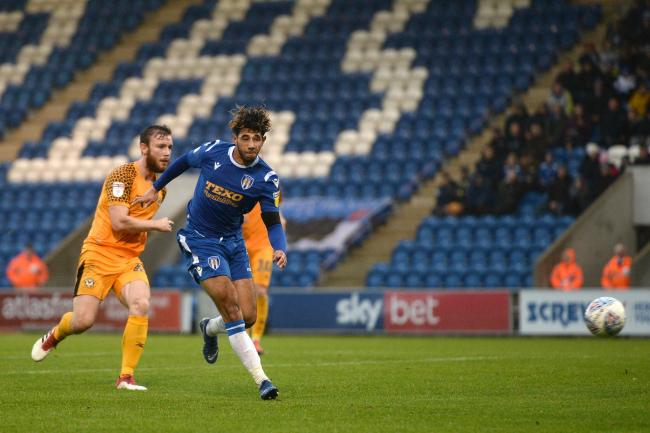Courtney Senior of Colchester United scores his sides third goal to make the scoreline 3-1 - Colchester United vs. Newport County - Sky Bet League Two - JobServe Community Stadium, Colchester - 26/10/2019 - Photo: Richard Blaxall.