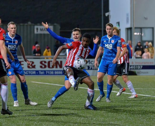 Impressive - Colchester United striker Junior Ogedi-Uzokwe in action for Derry City against St Patrick's Athletic during his spell in the League of Ireland Picture: DERRY JOURNAL