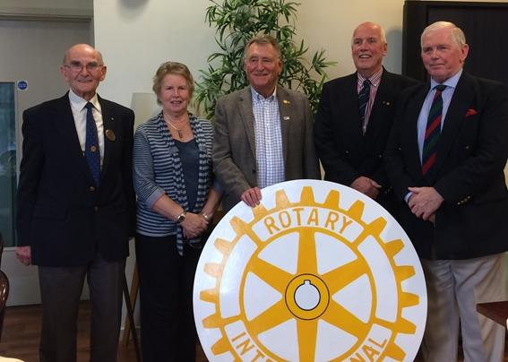 Grateful - Rotarians John Cadman, John Powell and David Casey with Dawn and Richard Woodhouse