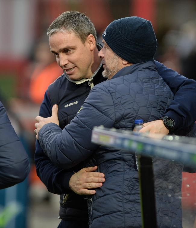 Friends - Cheltenham manager Michael Duff with U's assistant manager Steve Ball Picture: PAGEPIX