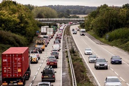 A12 blocked and long queues after two vehicle crash