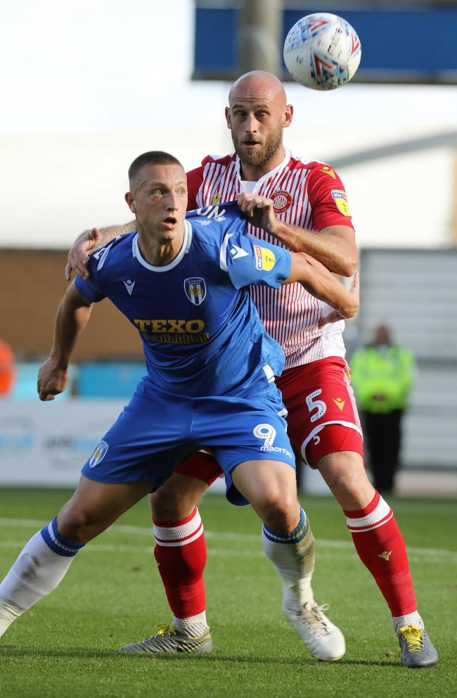 Heads up - Colchester United striker Luke Norris in action during the U's 3-1 win over Stevenage, in October Picture: STEVE BRADING