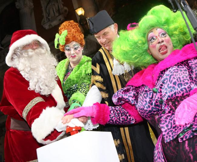 Colchester lights turned on by Colchester Mayor Nick Cope and Panto Dames from Mercury.